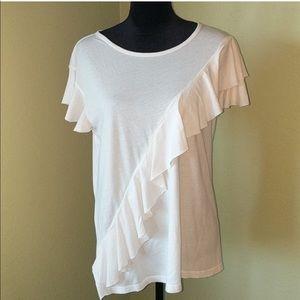 NWOTs SUSINA • Ruffle Beige Cotton Top XL